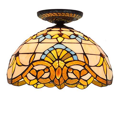 Iluminación de techo de vidrieras 12 pulgadas de techo Luces Tiffany Galss Shade barroca de cristal for la sala de estar de la lámpara de techo