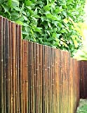 DE-COmmerce Robuster Bambus Holz Sicht Schutz Zaun ATY NIGRA I hochwertiger Windschutz Terrasse, Balkon, Garten I Bambusrohr Zaun mit geschlossenen Rohren 120 cm x 250 cm