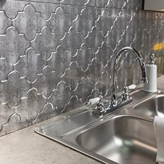Fasade Easy Installation Monaco Crosshatch Silver Backsplash Panel for Kitchen and Bathrooms (18