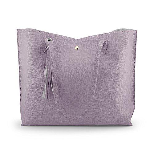 Oct17 Women Tote Bag - Tassels Faux Leather Shoulder Handbags, Fashion Ladies Purses Satchel Messenger Bags - Purple