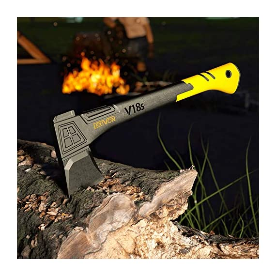 LEXIVON V18s Splitting Axe, 18-Inch Lightweight Fiber-glass Composite Handle & Ergonomic TPR Grip | Protective Carrying… 3 INNOVATIVE DESIGN - Fully encased over-molded blade. Hi-Tech fiberglass composite injected handle, featuring reinforced back spine & non-slip TPR grip. DURABLE - Drop-forged & heat-treated Grade A High-Carbon steel, meticulously hardened cutting edges provides a deeper and cleaner contact. SPLITTING - Wedge-shaped blade profile gives efficient one-strike splits. Perfect for splitting small to medium-sized fireplace logs & kindling.