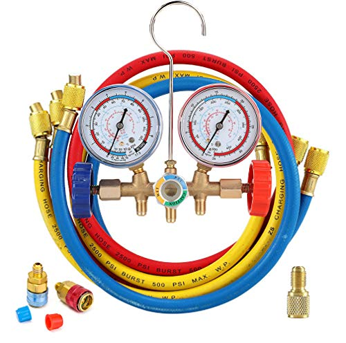 LEIMO 5FT AC Diagnostic Manifold Freon Gauge Set for R134A R12, R22, R502 Refrigerants - 60' 1/4' Standard Hoses with Couplers and Acme Adapter