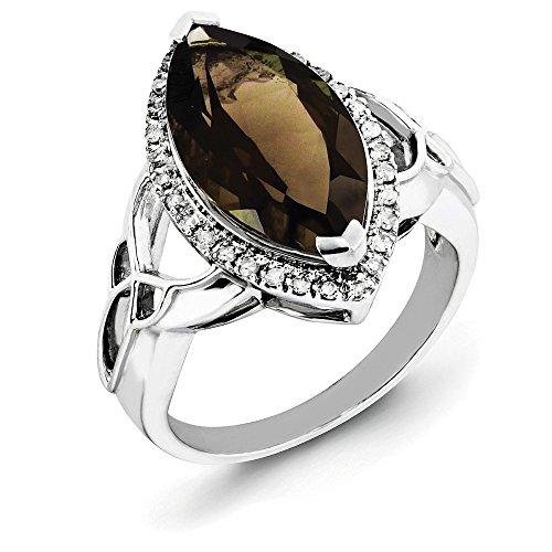 Black Bow Jewellery Company - 925 Sterlingsilber Sterling-Silber 925 Markise Rundschliff Leicht Getöntes Weiß/Top Crystal (I) Brown Diamant Rauchquarz