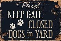 庭の看板は、庭のゲートを閉じてください錫標識金属標識通知安全セキュリティサイン通り装飾