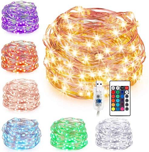 J & J LED String Lights, LED USB Powered 16 Multi Colors Changing Strip Lighting Christmas Tree Decoration Lights for Indoor Party Outdoor,10M 100Lights