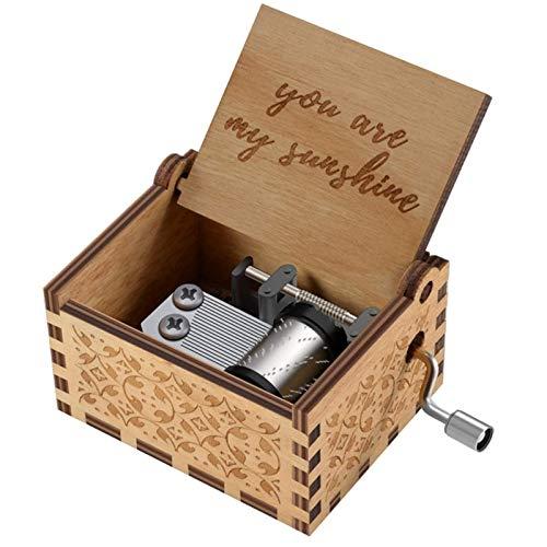 Baalaa You Are My Sunshine - Caja de música de madera, diseño vintage de sol, regalo para cumpleaños, Navidad, día de San Valentín