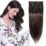 Extension a Clip Cheveux Naturel Court Lisse - Rajout Vrai Cheveux Humain - 8 Bandes Volume Fin Remy Hair (#2 CHATAIN FONCE, 20cm-45g)