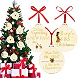 3 Pieces First Christmas Ornaments Wooden Pregnancy Presents Expectant Mom Gender Reveal Pregnancy Announcement Keepsake for Christmas Tree Ornaments with Ribbons Double-Side Printed