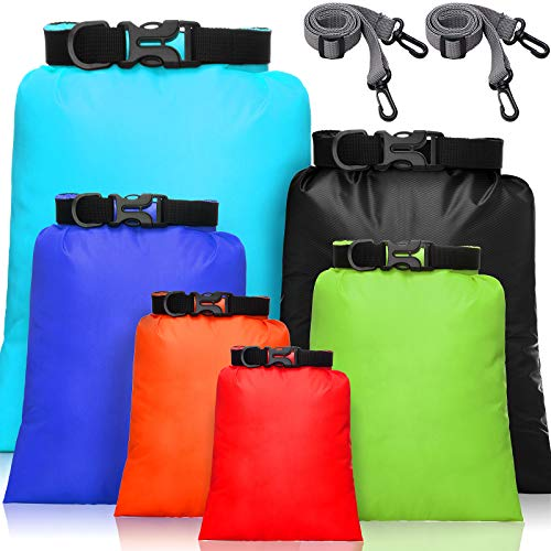 6 Pieces Waterproof Dry Bag Set Lightweight Combo Set with 15 L, 8 L, 5 L, 4 L, 3 L, 2 L Sacks and 2 Long Adjustable Shoulder Strap for Kayaking, Rafting, Boating, Hiking, Camping (Colorful)