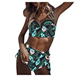 Lavany ❤️ Women Casual Sexy Print High Waist Swimsuit Set, Womens Summer Padded Swimsuit Push Up Bikini Sets Swimwear Green