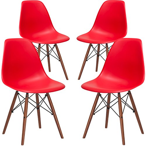 Poly and Bark Vortex Modern MidCentury Side Chair with Wooden Walnut Legs for Kitchen Living Room and Dining Room Red Set of 4