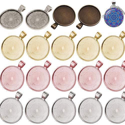 Dancepandas Lünette Anhänger Set 50PCS Anhänger Tabletts Rohlinge Cabochon Anhänger Ideal Für Schmuckherstellung Handwerk Halskette Schlüsselanhänger (5 Farben)