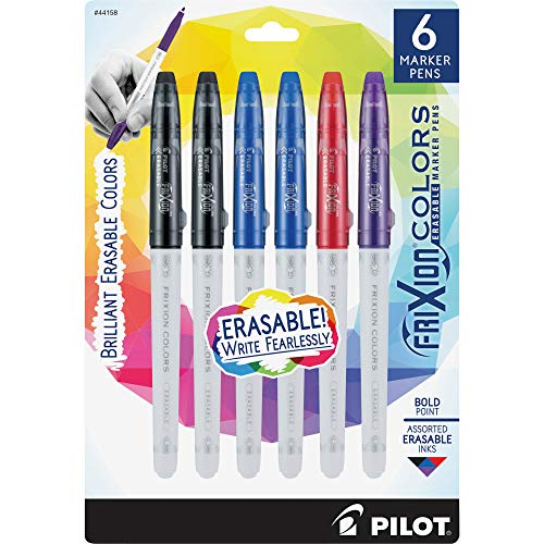 Pilot FriXion Colors Erasable Marker Pen, Bold Point 2.5mm, Assorted Business Colors, Pack of 6