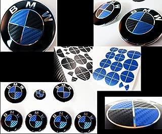 FL Vinyl Black & Blue Carbon Fiber Complete Set of Vinyl Sticker Overlay for All BMW Emblems