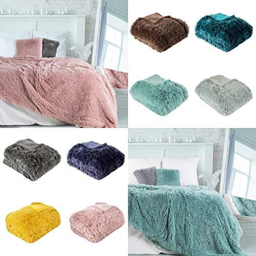 Eurofirany fleecedeken, sofadeken, fauteuildeken, woondeken, knuffeldeken, beddensprei, beddensprei, beddensprei, kunstvacht, sprei, Letselie. (donkerblauw, 70 x 140 cm), polyester.