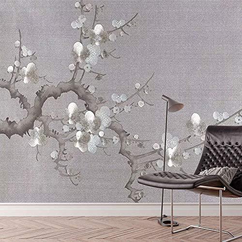Papel pintado, papel pintado - personalizado retro ciruela mural transparente estilo chino sala de estar TV fondo papel de pared arte clásico venta papel pintado a papel pintado pared -200cm×140cm