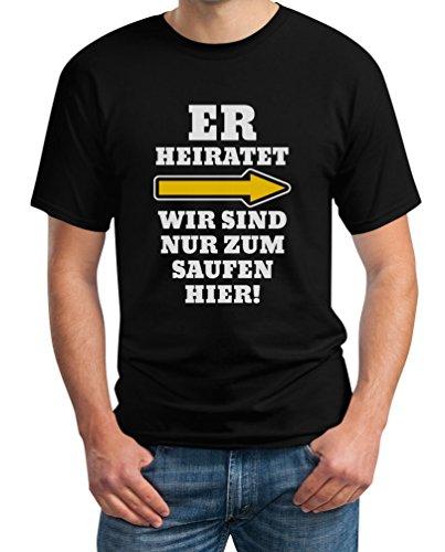 JGA Kombi Shirt - Rechts Er Heiratet Wir Sind Nur Zum Saufen Hier Polterabend Junggesellenabschied Männer Herren T-Shirt L Schwarz