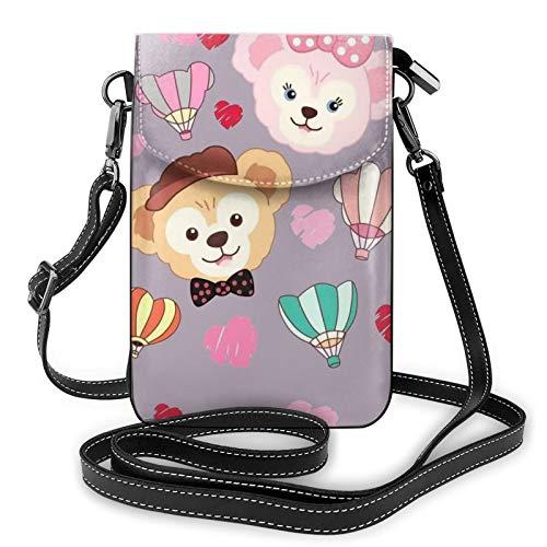 Bolso ligero del teléfono celular de la PU, dos monos pequeños bolsos cruzados del bolso del hombro de la cartera del bolso del Pounch para las mujeres, color Negro, talla Talla única