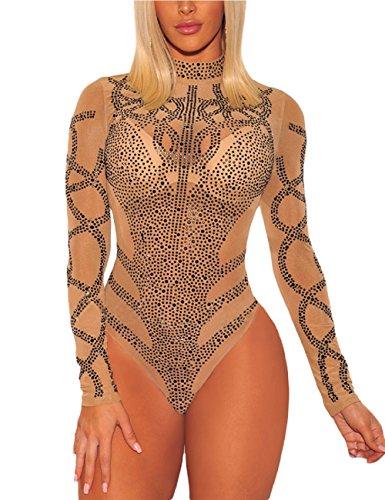 SEBOWEL Damen Sexy Strass Mesh Body Club Party Langarm Bodysuit Bluse Tops, #7 Khaki Black, L
