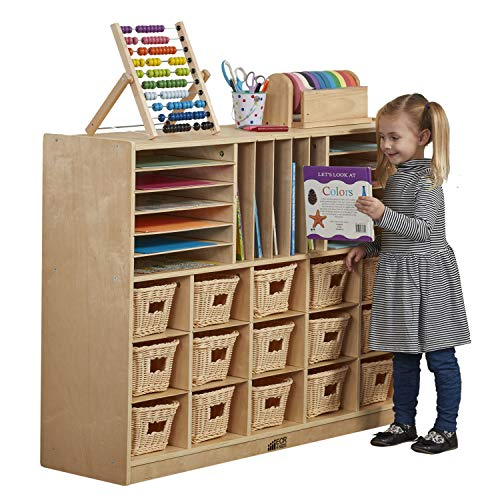 ECR4Kids Birch Multi-Section Storage Cabinet with Rolling Casters, Multipurpose Classroom Furniture, Hardwood Mobile Storage for Homeschool Supplies and Toy Storage