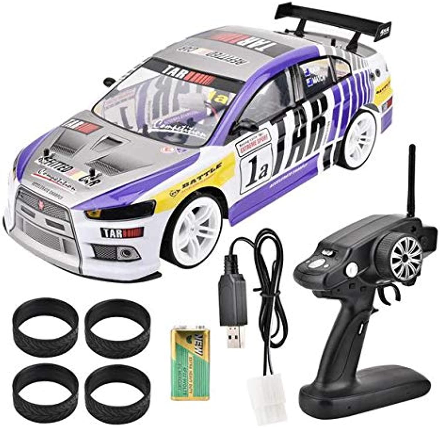 RC Drift Car Toy, USB 1 10 FourWheels Drive 4WD Remote Control Drift Car RC Racing Car Model Toy Vehicle, (OneBattery Compartment(40km h)