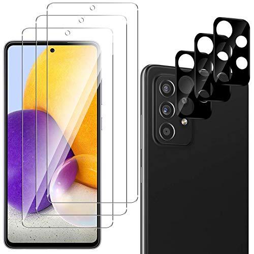 QULLOO Pellicola Protettiva per Samsung Galaxy A72 [3 Pezzi] + Pellicola Fotocamera [3 Pezzi],9H Durezza HD Chiaro Pellicola Vetro Temperato per Samsung Galaxy A72