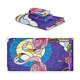 TropicalLife iRoad Juego de toallas de algodón 3 piezas Cartoon Flamingo Star Night altamente absorbentes Toallas de cara para baño y cocina