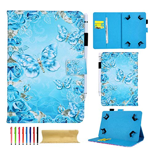 Universal Case for 9.7' 10.1' 10.5' Tablet, Techcircle Slim Folding PU Leather Stand Magnetic Cover for iPad Pro/Air 10.5, Samsung Galaxy Tab, Fire HD 10, RCA/Lenovo 10-inch Tablet, Crystal Butterfly