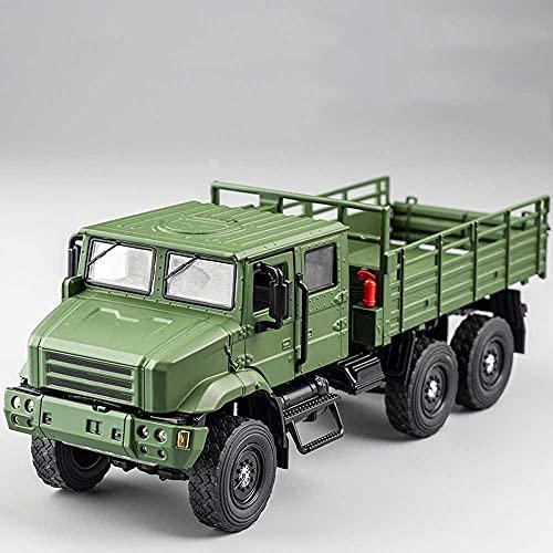 Xolye Simulación Modelo de Tanque Militar Sound and Light Effect Transport Militar Modelo Modelo de camión de Metal de tracción de 6 Ruedas.