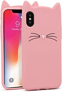Yonocosta iPhone X Case, iPhone Xs Case, Fashion Cute 3D Cartoon Pink Whisker Cat Ears Kitty Animal Slim Fit Case, Soft Silicone Rubber Bumper Cover for iPhone X/XS/10 (5.8