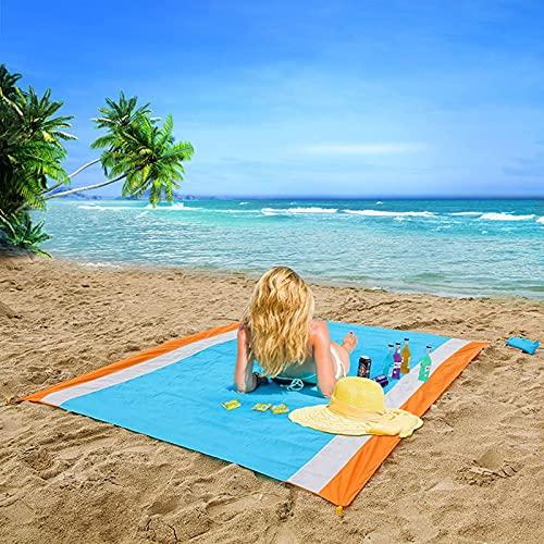 QSLS Alfombra de Playa Manta de Picnic Impermeable Alfombra de Camping 200x210cm Estrilla Portátil y Ligero Manta Anti Arena con 4 Estaca Fijo,210 * 200cm