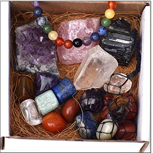 DREAM HOLISTIC Chakra Healing Meditation kit for Balancing Chakras - 7 Chakra Gift Set Tumbled Stones, Rose Quartz, Amethyst Cluster, Crystal Raw Points, Chakra Hanger, Black Tourmaline Raw