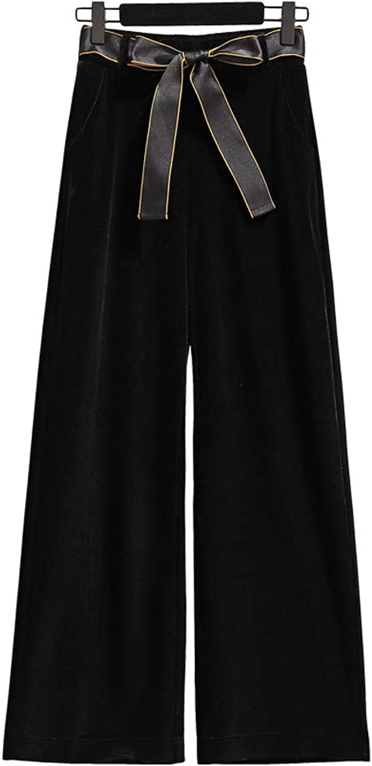 HOQTUM WideLeg Pants Women's Spring and Autumn Straight gold Velvet Casual Trousers Women's Loose Black Pants Flared Pants