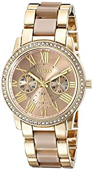 XOXO Women s Analog Watch with Gold-Tone Case Crystal-Inset Bezel Fold-Over Clasp - Official XOXO Woman s Gold and Rose Gold Watch Two-Tone Chain Link Strap - Model  XO5873