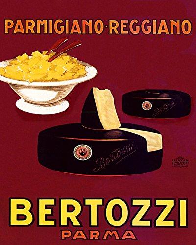 16'x20' Cheese Pasta Parmigiano Reggiano Bertozzi Parma Italian Italy Vintage Poster Repro 16' X 20' Standard Image Size for Framing.