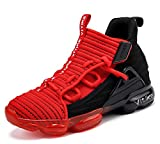 JMFCHI Boys Basketball Shoes Kids High-top Sneakers Sports Shoes Durable Lace-up Non-Slip Running Shoes Secure for Little Kids Big Kids and Girls Size 6 Red