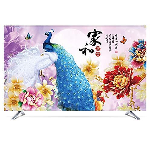 catch-L Interior Paisaje Impermeable Cubierta De Polvo Cubierta De TV Cubierta De Tela China For Colgar En La Pared (Color : Peacock, Size : 47inch)