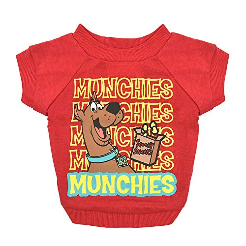 Warner Brothers Scooby Doo 'Munchies' Dog T Shirt in Red, Size Medium | Soft Dog T-shirt for All Dogs, Scooby Snacks Design | Machine Washable Pullover Dog Shirt, Light Weight and Semi-Stretch