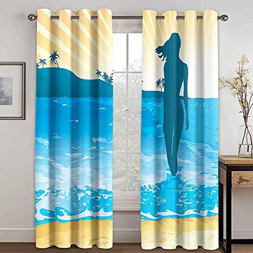 Beydodo Cortina Comedor Poliéster Cortina Dormitorio 2 Piezas Mujer en Playa y Árboles de Coco Azul Amarillo Claro Cortina 214x183CM