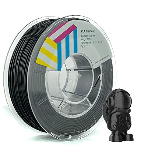 Eolas Prints   Filamento PLA 1.75 250gr   Impresora 3D   Fabricado en España   Apto para uso alimentario y crear juguetes y envases   1,75mm   250gr   Negro