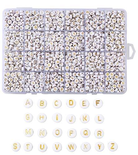 Sadingo, perline a forma di lettera bianca e oro (7 mm, 1820 pezzi) per fai da te piccole lettere miste, per bracciali, collane