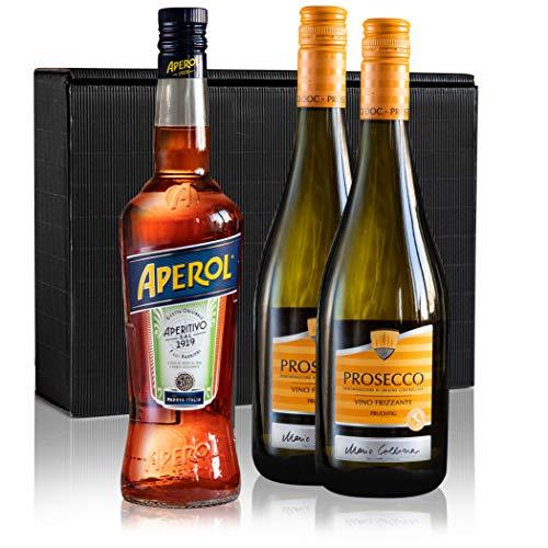 1x Aperol Spritz (0,7l) 11% vol +2 Flaschen Prosecco (0,75L) im Geschenk Karton Aperitif