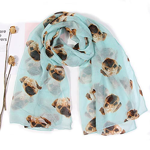 Vcnhln Bufanda de Hilo Parisino con Estampado de Cabeza de Perro Bufanda de Animal