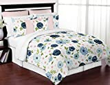 Sweet Jojo Designs Navy Blue and Pink Watercolor Floral Girl Full/Queen Size Kid Childrens Bedding Comforter Set - 3 Pieces - Blush, Green and White Shabby Chic Rose Flower