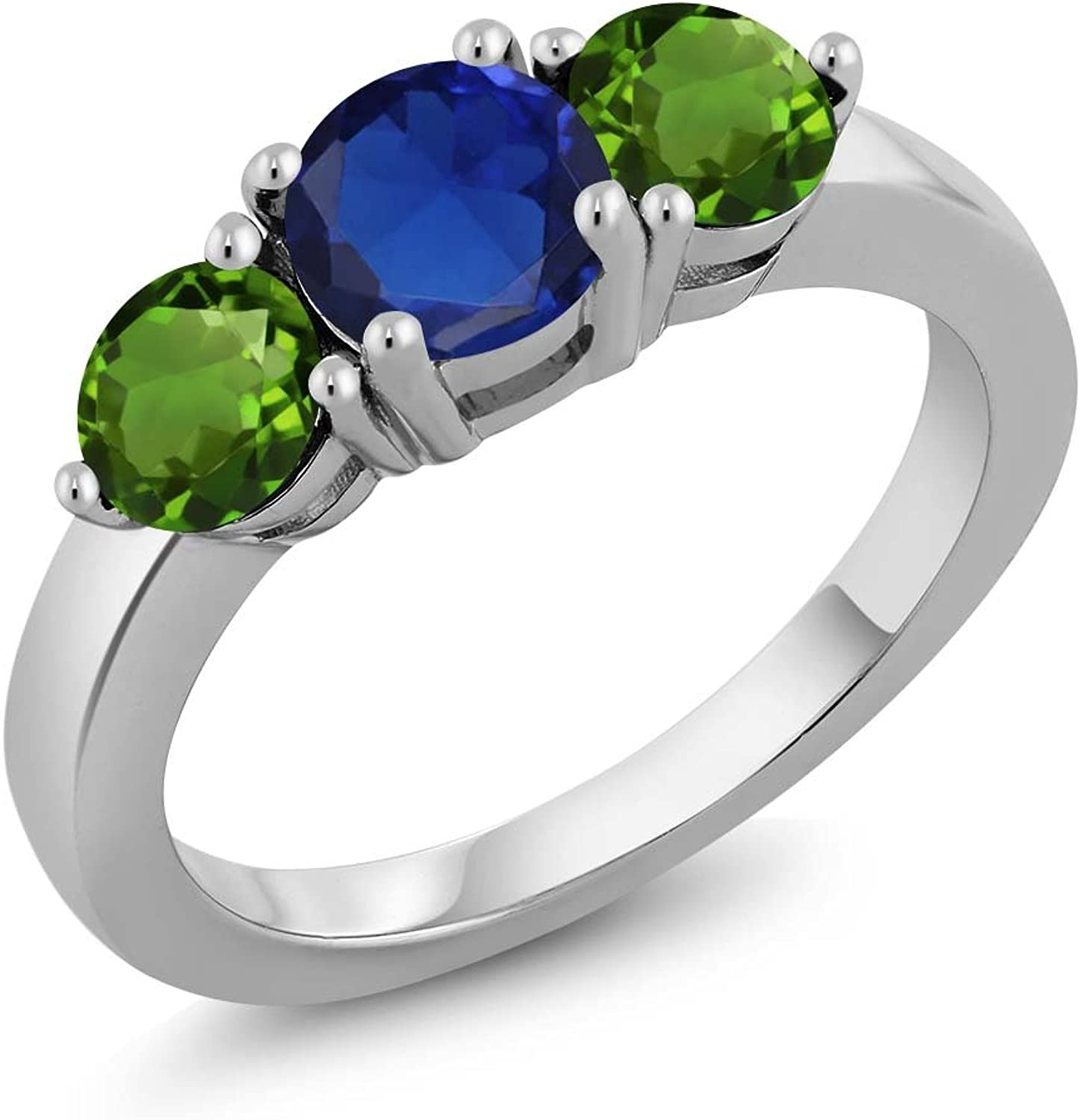 2.00 Ct Round bluee Simulated Sapphire Green Chrome Diopside 925 Silver Ring
