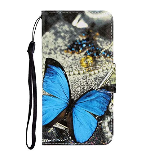 Samsung Galaxy S10 Lite/A91 Hoes, 3D Art Shock-Absorption Premium PU lederen Flip Notebook Portemonneehouder met Magnetische Kickstand ID Kaarthouder Slot TPU Bumper Beschermhoes Telefoon Samsung Galaxy S10 Lite/A91 Blauwe Morpho
