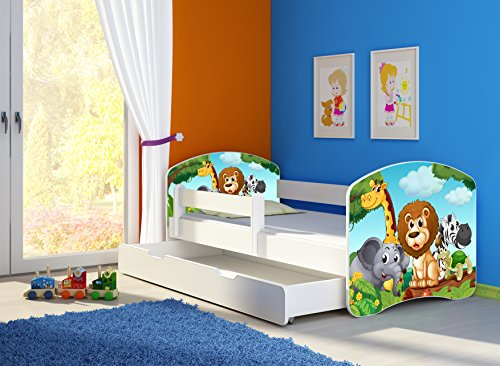 Clamaro 'Fantasia Weiß' 160 x 80 Kinderbett Set inkl. Matratze, Lattenrost und mit Bettkasten Schublade, mit verstellbarem Rausfallschutz und Kantenschutzleisten, Design: 02 Tierpark-2