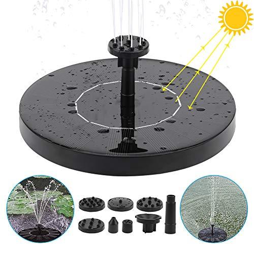 Etmury Solar Springbrunnen,Solar Teichpumpe mit 1.5W Solar Panel Eingebaute Wasserpumpe Solar Schwimmender Fontäne Pumpe mit 6 Fontänenstile für Garten, Vogel-Bad,Teich,Fisch-Behälter