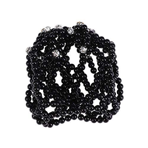 Beaupretty Bandeau de perles Snood Net, Clip de cheveux élastiques Snood Net Crochet de filet de perle au crochet Heardwear pour la danse de mariage (Noir)