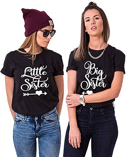 Best Friends BFF Big Little Sister T-Shirts für Zwei Beste Freundin (Tshirt Schwarz, Big Sister L)